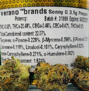 sonny g by verano label of terpenes